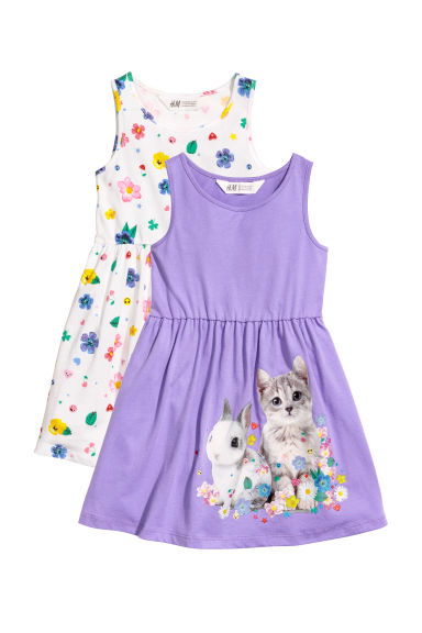2-pack jersey dresses - Purple/Cat -  | H&M