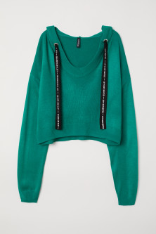 Fine-knit hooded jumper