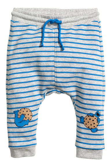 Printed joggers - Light grey/Cookie Monster - Kids | H&M CN