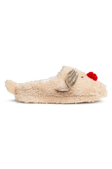 Soft slippers - Beige/Reindeer - Ladies | H&M GB