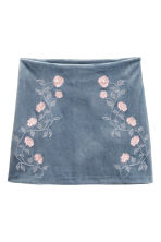 Skirt with embroidery - Pigeon blue - Ladies | H&M 1