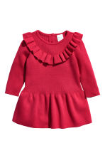 Knitted cotton dress - Red - Kids | H&M CN 1