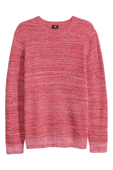 Textured-knit jumper - Red marl -  | H&M