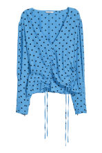 V-neck blouse with drawstrings - Light blue/Black spotted - Ladies | H&M 2