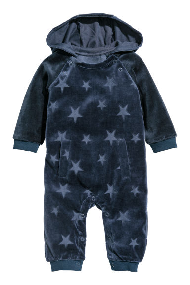 Hooded all-in-one suit - Dark blue/Velour - Kids | H&M CN