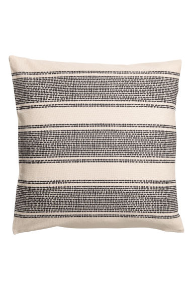 Patterned cushion cover - Natural white/Black patterned - Home All | H&M CN