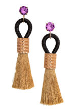 Tasselled earrings - Black/Gold-coloured - Ladies | H&M 1