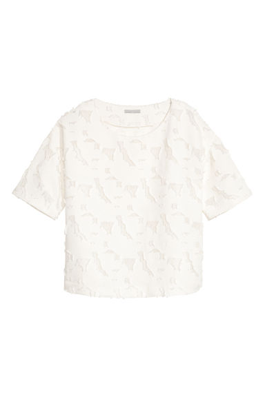 Textured top - White - Ladies | H&M CN