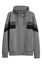 Sweat à col cheminée - Gris chiné/color block - HOMME | H&M FR 1