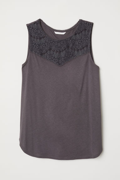 Sleeveless jersey top - Anthracite grey -  | H&M CN