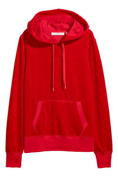 Velour hooded top - Red -  | H&M IE