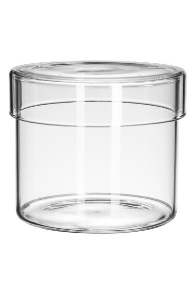 Small glass pot with a lid - Clear glass - Home All | H&M IE