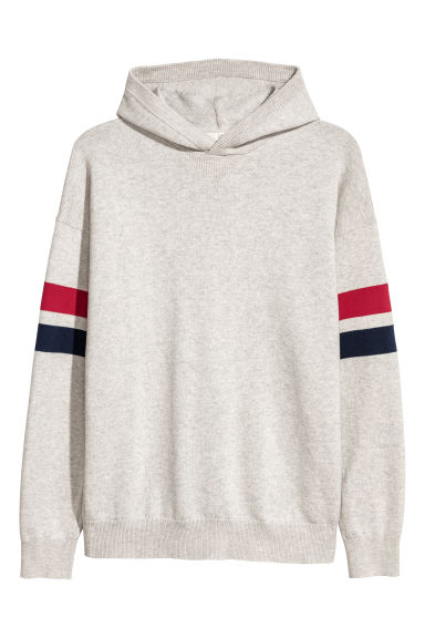 Fine-knit hooded jumper - Light grey -  | H&M IE