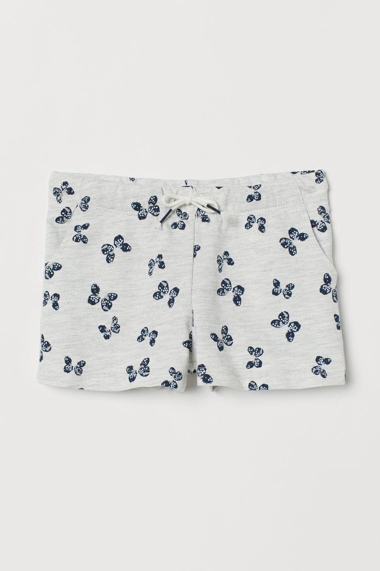 Jersey shorts - Light grey marl/Butterflies - Kids | H&M GB