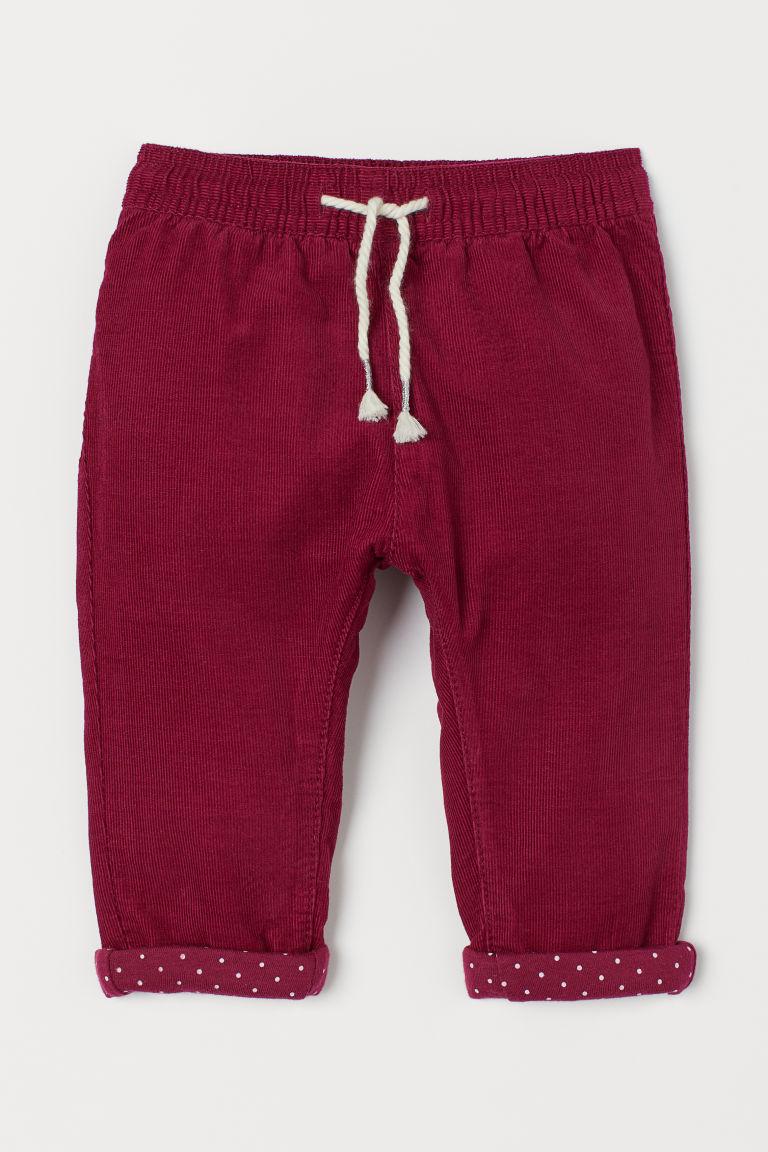 Lined corduroy trousers - Dark pink - Kids   H&M GB