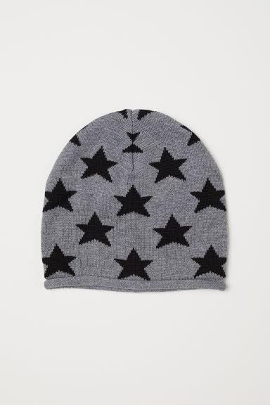 Fine-knit hat - Dark grey marl/Stars - Kids | H&M GB
