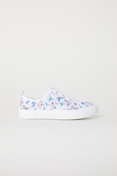 Canvas trainers - White/Butterflies - Kids | H&M CN