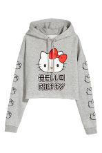 Cropped hooded top - Light grey/Hello Kitty - Ladies | H&M 2