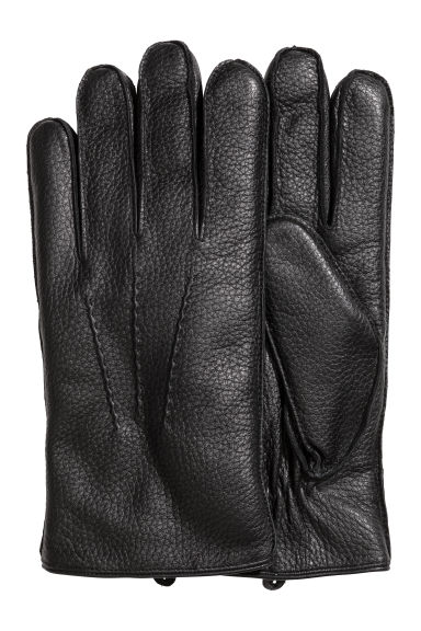 Pile-lined leather gloves - Black - Men | H&M