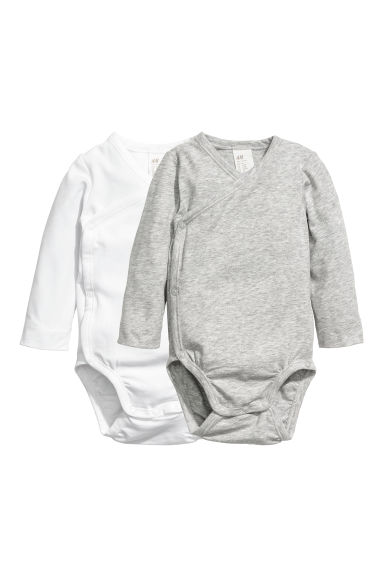 2-pack pima cotton bodysuits - White/Grey - Kids | H&M CN