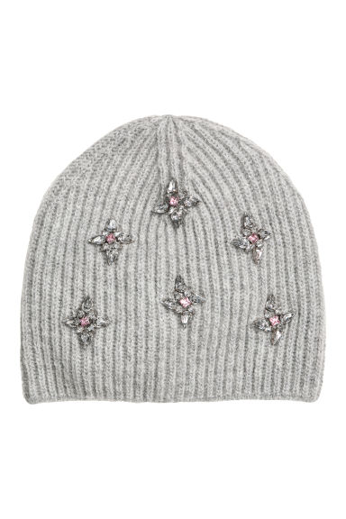 Hat with sparkly stones - Light grey - Ladies | H&M CN