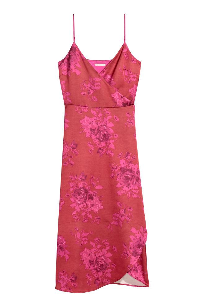 Satin wrap dress - Red/Pink patterned - Ladies | H&M GB