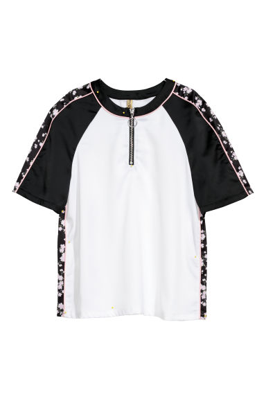 Satin top with a zip - White/Black - Ladies | H&M