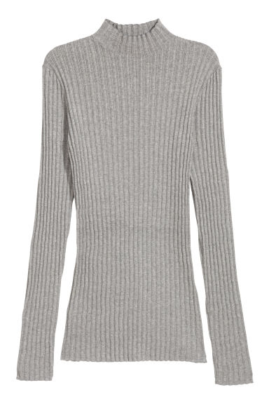 Rib-knit jumper - Grey marl - Ladies | H&M CN
