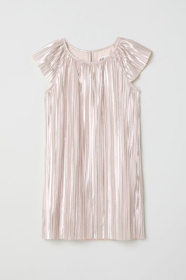 Pleated dress - Powder pink/Metallic - Kids | H&M CN