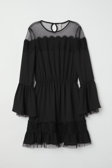 Dress with lace details - Black -  | H&M