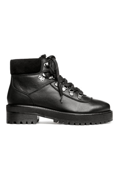 Warm-lined boots - Black/Leather - Ladies | H&M