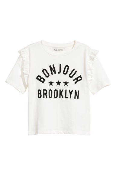 Frill-trimmed T-shirt - White - Kids | H&M CN