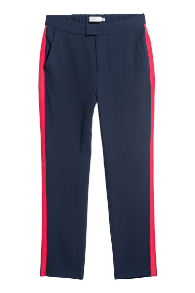 Trousers with side stripes - Dark blue/Red - Ladies | H&M