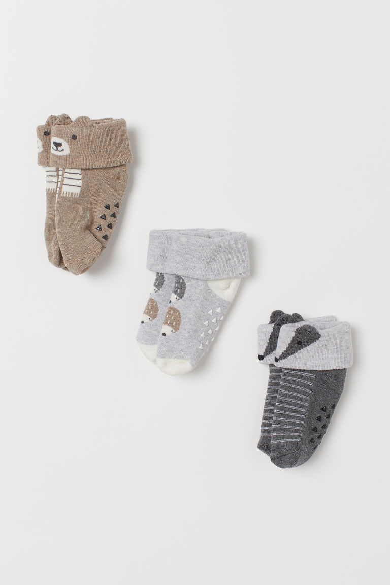 3-pack terry socks - Light grey/Hedgehogs -  | H&M GB