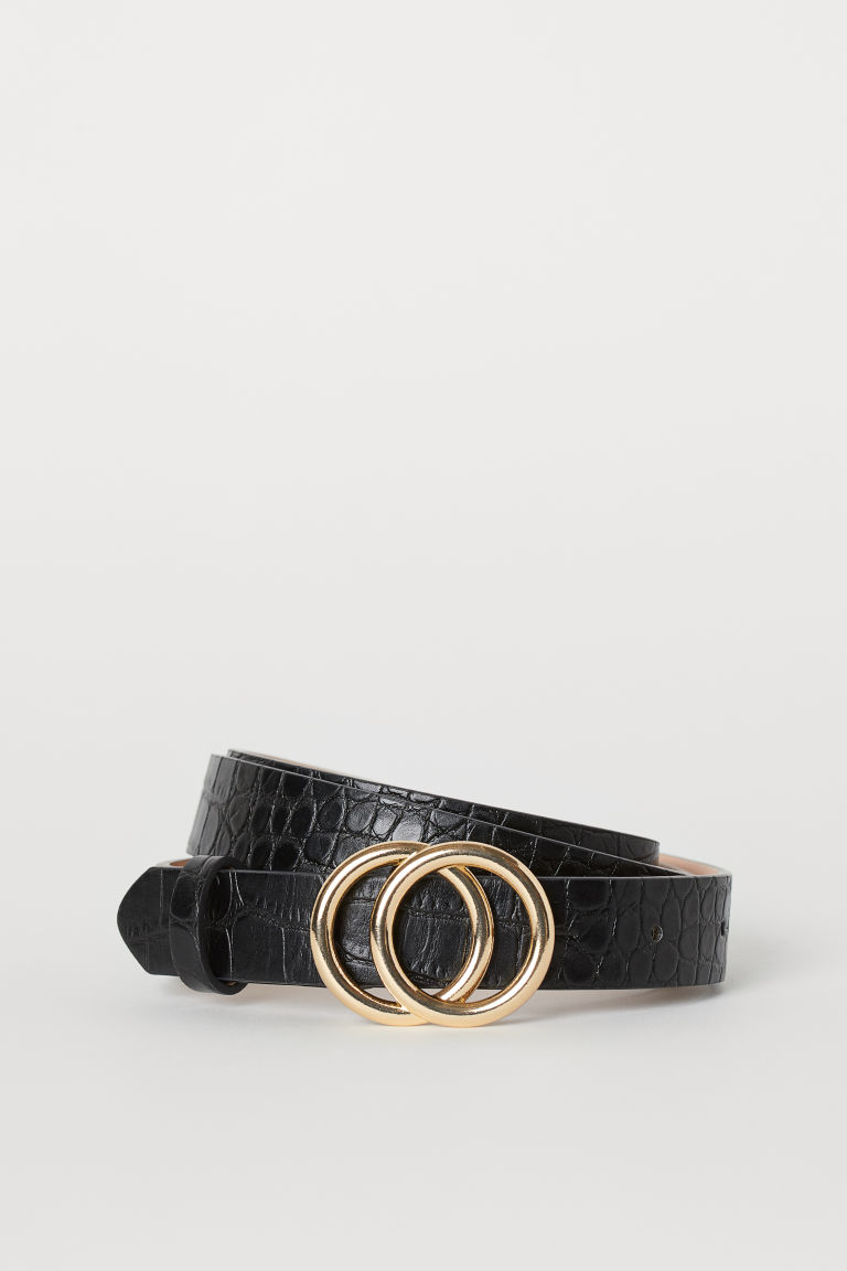 Narrow belt - Black/Crocodile-patterned - Ladies | H&M GB