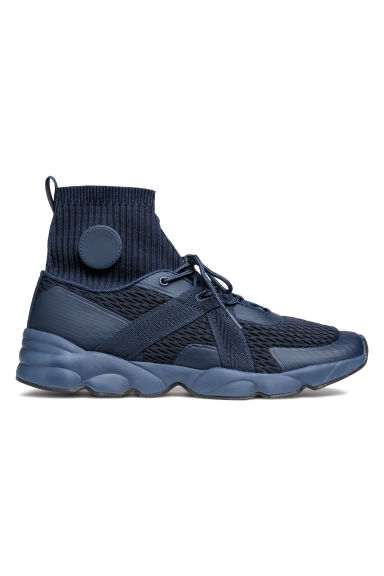 Hi-tops with a knitted shaft - Dark blue - Men | H&M IE