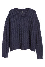Textured-knit jumper - Dark blue - Ladies | H&M CN 2