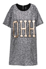 T-shirt dress with sequins - Black/Silver-coloured - Ladies | H&M CN 2