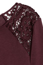 Long-sleeved top with lace - Plum - Ladies | H&M IE 3