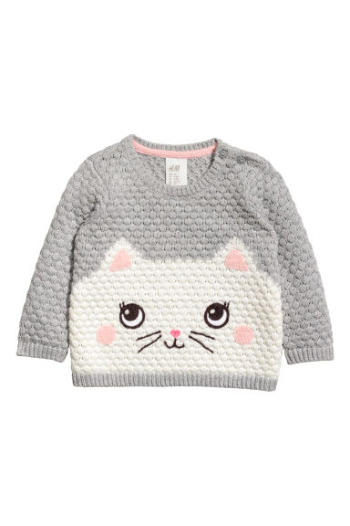 Textured-knit jumper - Grey/Cat - Kids | H&M
