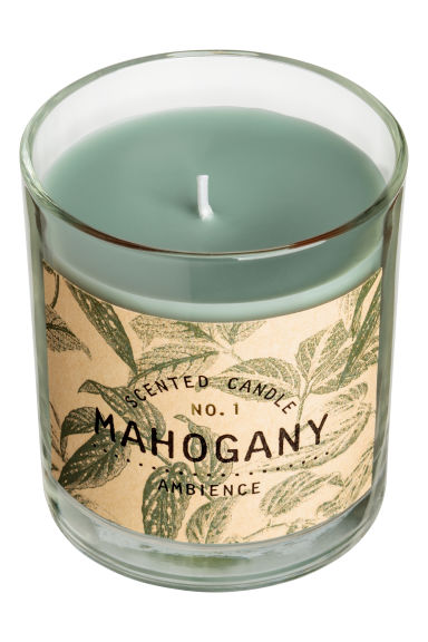 Scented candle in glass holder - Light khaki green/Mahogany -  | H&M GB