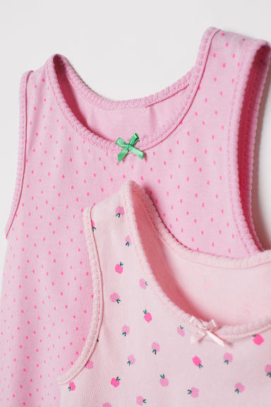 Canotte in jersey, 2 pz - Rosa/mele - BAMBINO | H&M CH
