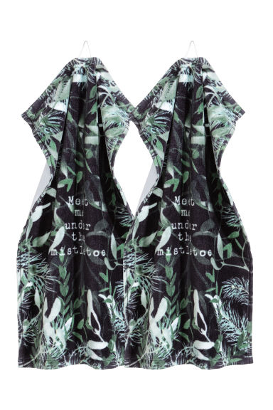 2-pack guest towels - Dark green/Patterned - Home All | H&M CN 1