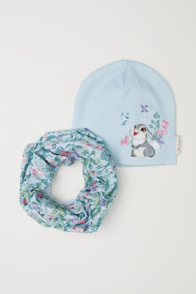 Hat and tube scarf - Light turquoise/Bambi - Kids | H&M CN