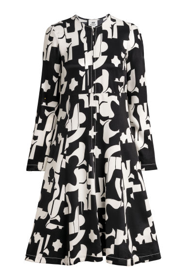 Patterned dress - Black/White patterned - Ladies | H&M CN