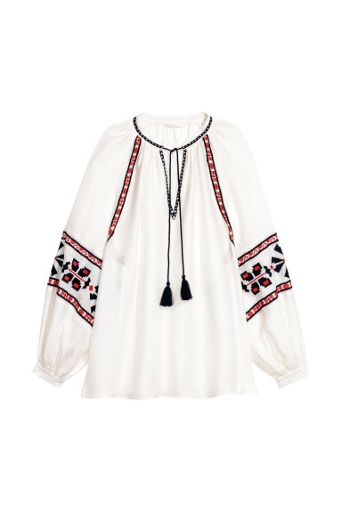 Embroidered blouse - White -  | H&M GB