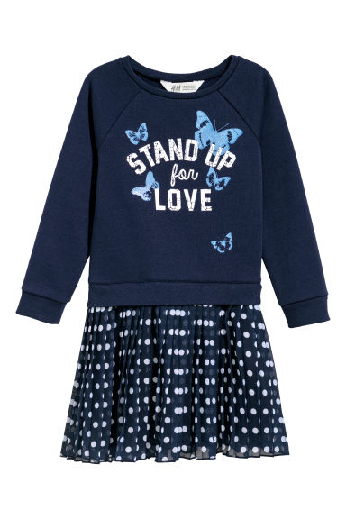 Sweatshirt dress - Dark blue/Spotted - Kids | H&M CN
