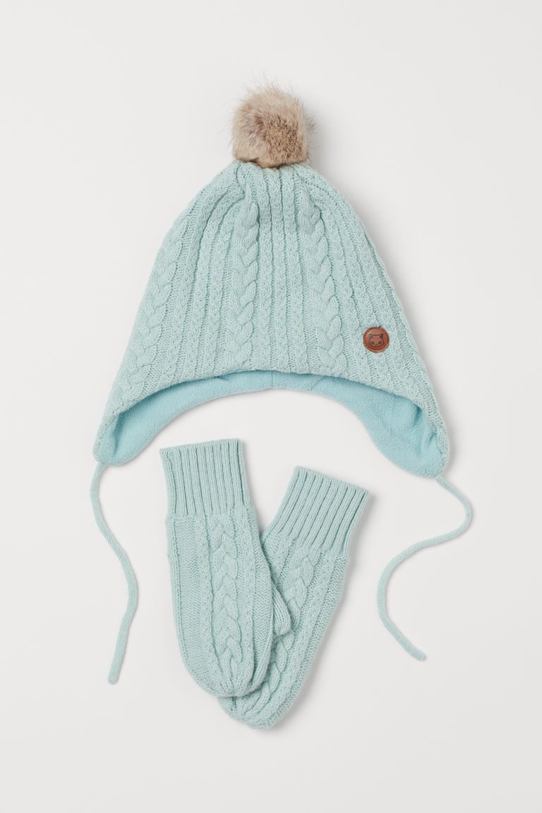 Cable-knit Hat and Mittens