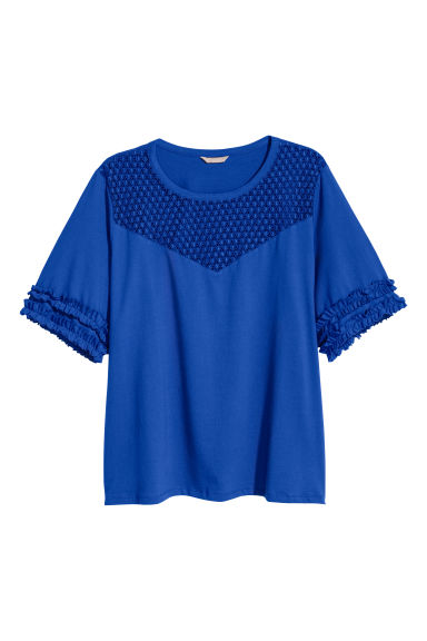 H&M+ Jersey top with lace yoke - Bright blue - Ladies | H&M