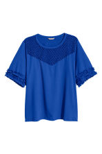 H&M+ Jersey top with lace yoke - Bright blue - Ladies | H&M 2